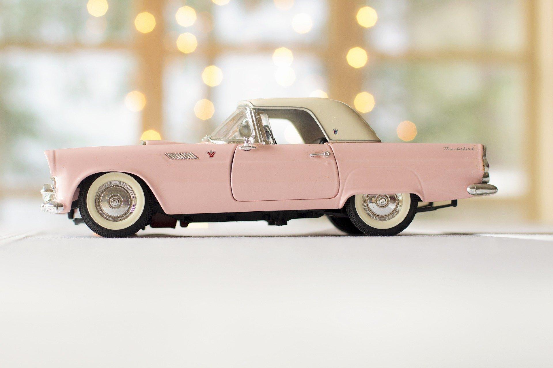 Car Pink Car Thunderbird Drive Driving Vintage