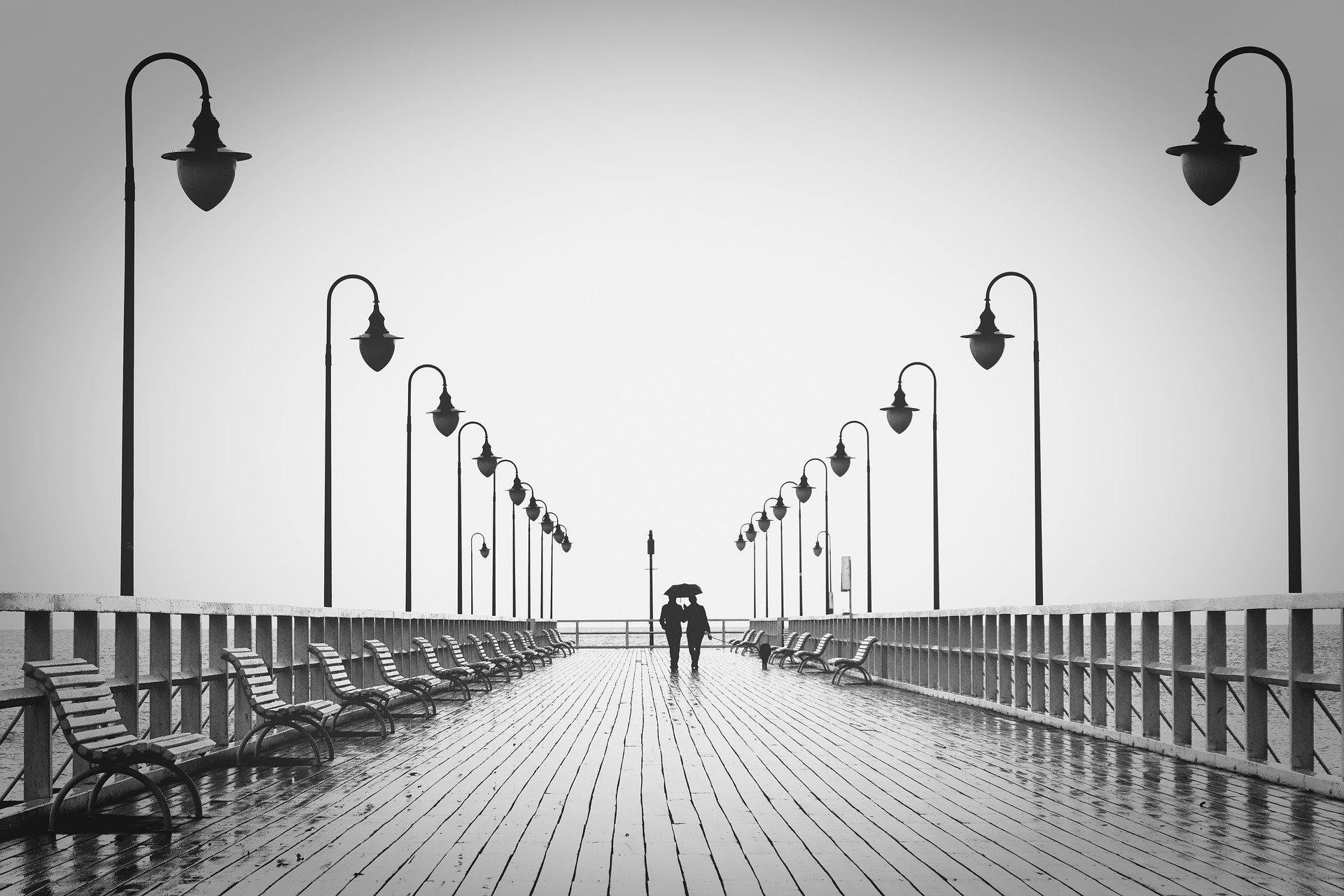 Couple Boardwalk Silhouettes Walk Walking Pier